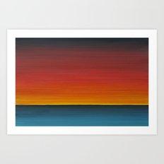 Sea Sunset Meditation Beach Painting Art Print