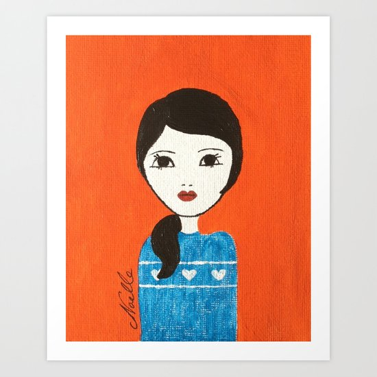 Blue Sweater Art Print