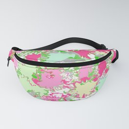 Sketchy Fun Flowers in Shades of Pink, Green and Yellow Fanny Pack