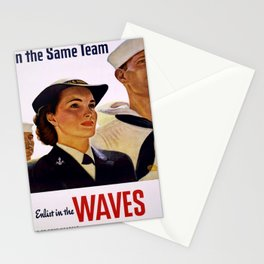 Vintage poster - Enlist in the Waves Stationery Cards