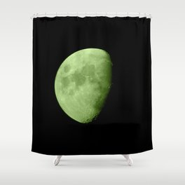 4K Dark Side of the Moon Lime Green Shower Curtain