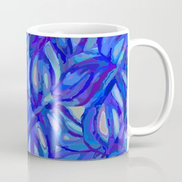 Abstract flowers watercolor pattern with blue, azure and cobalt blue colors Coffee Mug