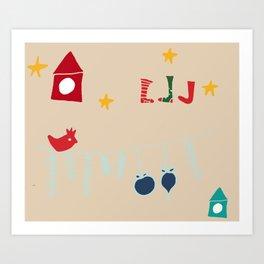 Holiday bird beige Art Print