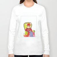 knitting Long Sleeve T-shirts featuring knitting fox by emmeke
