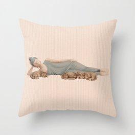 Sleeping Buddha with cats - light Throw Pillow