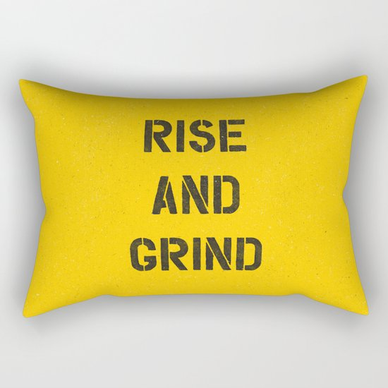 Rise and Grind black-white yellow typography poster bedroom wall home decor by themotivatedtype