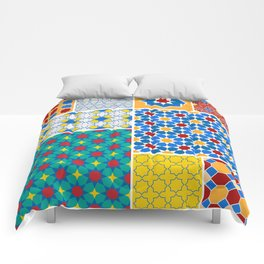 Moroccan pattern, Morocco. Patchwork mosaic with traditional folk geometric ornament. Tribal orienta Comforters