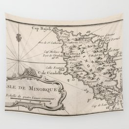 Vintage Menorca Island Map (1764) Wall Tapestry