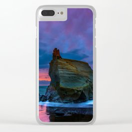 Sunset Beach Rocks Clear iPhone Case