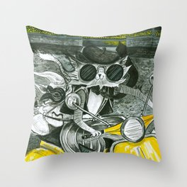 Cats on Scooter Throw Pillow