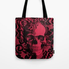 Gothic Lace Skull in red and black. Tote Bag