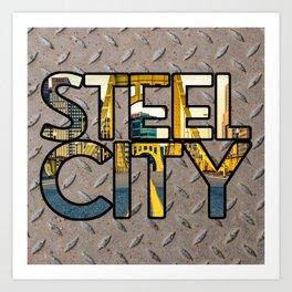 Pittsburgh Steel City Skyline Bridge 412 Pennsylvania On Steel Art Print