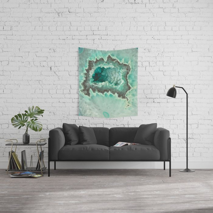 Minty Geode Crystals Wall Tapestry