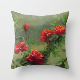 Red Roses in Soft Sunlight Throw Pillow