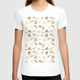 Gold Roses Rosette Pattern Golden on White T-shirt