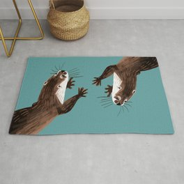 Asian small-clawed otter Cadet blue Rug