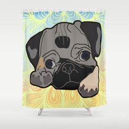 Adorable and Mischievous Pug Shower Curtain