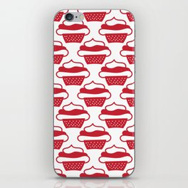 Doodled cupcakes - red and white iPhone Skin
