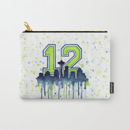 Seattle 12th Man Art Skyline Watercolor Carry-All Pouch