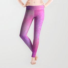 Boho abstract mandala in pink-purple colors Leggings