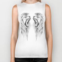 lions Biker Tanks featuring Lions by Libby Watkins Illustration