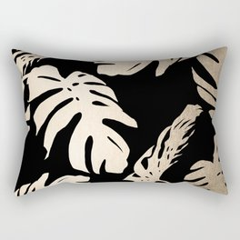 Simply Palm Leaves in White Gold Sands on Midnight Black Rectangular Pillow
