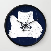 snorlax Wall Clocks featuring House Snorlax by Alecxps