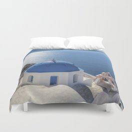 Santorini Island with churches and sea view in Greece Duvet Cover