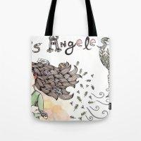 los angeles Tote Bags featuring Los Angeles by Brooke Weeber