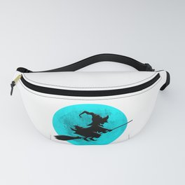 Witch On Broom With Full Moon Gift For Halloween Costume Fanny Pack