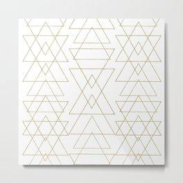Modern White & Gold Geometric Pattern Metal Print