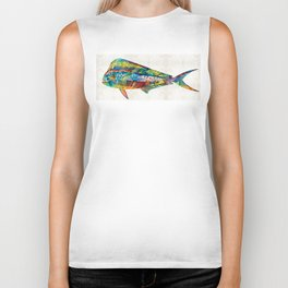 Colorful Dolphin Fish by Sharon Cummings Biker Tank