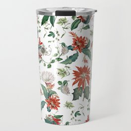 Festive Red Green Botanical Poinsettia Cactus Floral Pattern Travel Mug