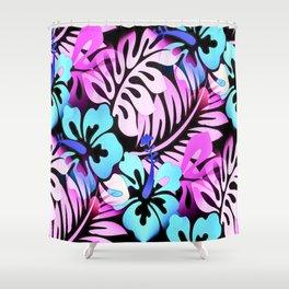 Hawaiian Flowered Shirt Print Pink Blue Shower Curtain