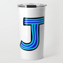 Uppercase Letter J Doodle Travel Mug