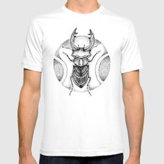 Stag Beetle White Mens Fitted Tee MEDIUM