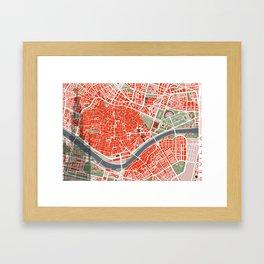 Seville city map classic Framed Art Print