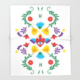 Mexican Otomi Embroidery Folk Art Sacred Heart Evil Eye Throw Blanket