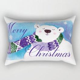 Merry Christmas Polar Bear Rectangular Pillow