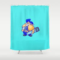 hamster Shower Curtains featuring Cute hamster handy-man by ineptgrafik
