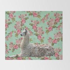 Floral Llama Throw Blanket