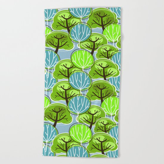 Retro Trees, in blue and green Beach Towel