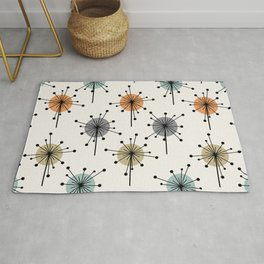 Midcentury Sputnik Starburst Flowers Colorful Rug