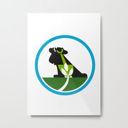 Organic Farmer Shovel Plant Circle Metal Print
