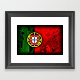 circuit board Portugal (Flag) Framed Art Print