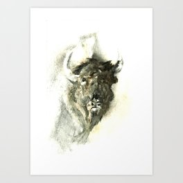 Bison watercolour Art Print