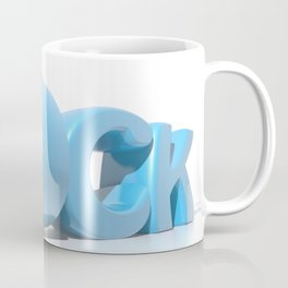 Rock written in blue letters on white background Coffee Mug