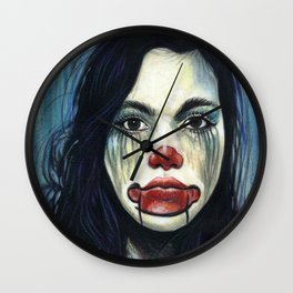 Portrait - Clowning Around Girl Wall Clock