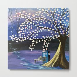 Tardis With Blossom Tree Art Painting Metal Print