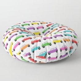 Vintage Mini Cars in rainbow colors Floor Pillow